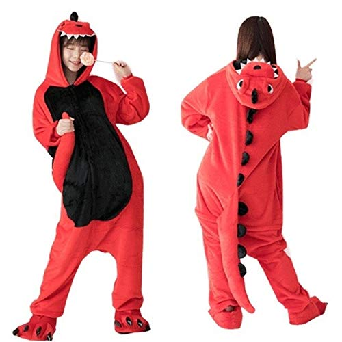 Pijama Unicornio Adulto Franela Kigurumi Bodies Dinosaurio for Adultos Spyro el dragón Pijamas de Las Mujeres de Dinosaurios Generales Total Onepiece Animal Pijamas (Color : A, Size : M)