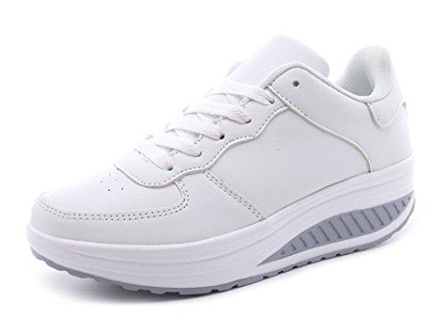 Amitafo Damen Plateau mit Keilabsatz Walkmaxx Schuhe Runners Turnschuhe Fitnessschuhe