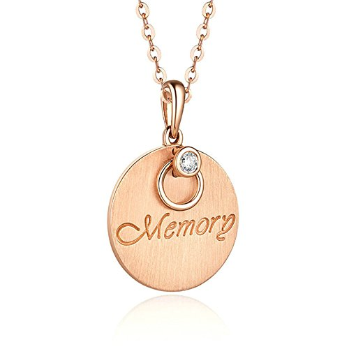 Daesar Collana in Oro 18 Carati per Donna Con Ciondolo Tondo Con Diamante Con Memoria incisa (1.96 ct) E Foto