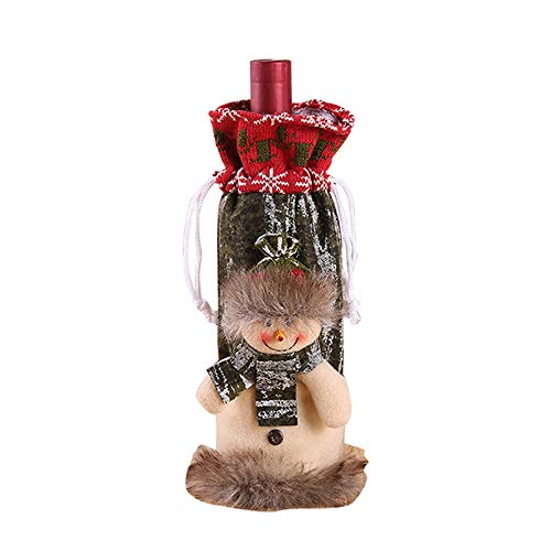 DIAOSUJIA Bolsa De Navidad,1 Unids Navidad Muñeco De Nieve Botella De Vino Set Tinto Vino Botella Bolsa Bolsa De Decoración Casero Decoración Mesa Decoración Fiesta Regalo Embalaje