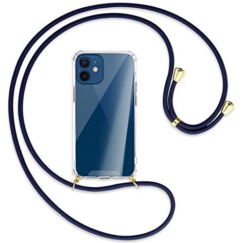 mtb more energy® Collana Smartphone per Apple iPhone 12 Mini (5.4'') - Blu Scuro/Oro - Custodia indossabile per Collo - Cover a Tracolla con cordina