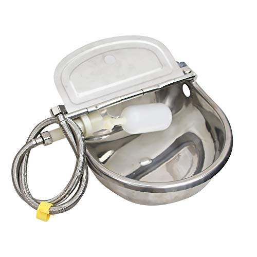 MODUODUO Automatic Water Trough Dog Feeder Bowl with 39' Length Pipe & Float for Cattle Horse...