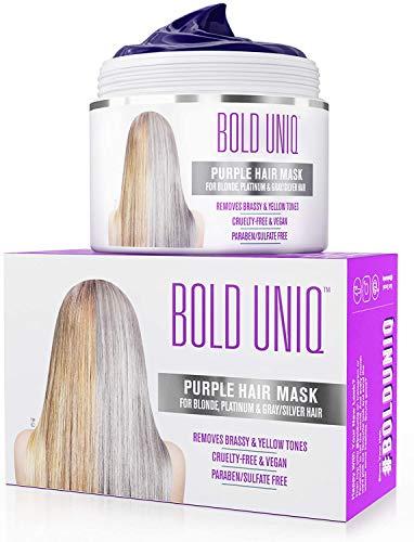 Silber Haarmaske für silbernes und blondiertes Haar - Purple Hair Mask - intensive Haarpflege für trockenes, strapaziertes und geschädigtes Haar - - Bold Uniq by B Uniq