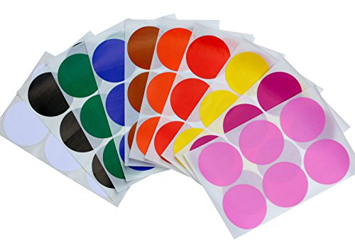 Round 2 inch Dot Stickers 10 Assorted Colors - Red, Yellow, Brown, Orange, Blue, Green, White, Black, Purple and Pink - 50mm Write on Labels - Two inch Labels for Color Coding - 72 Pack