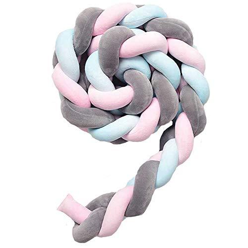QINGLOU Bettumrandung,Baby Nestchen Kinderbett Stoßstange Weben Bettumrandung Kantenschutz Kopfschutz für Krippe Kinderbett (Pink + Grau + Blau, 200cm)