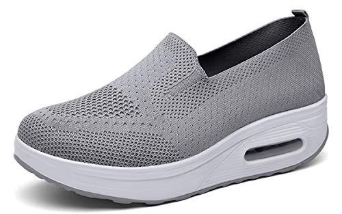 Zapatos Deporte Mujer Zapatillas Deportivas Casual para Mujer Running Caminar Fitness Atlético Transpirable Ligero Sneakers, Gris, 39 EU