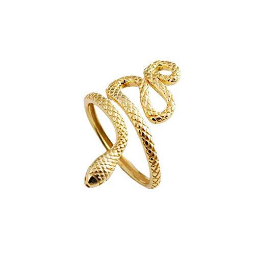 JTIAN - Anillo de plata de ley para mujer, diseño de serpiente de plata 925, anillo abierto de plata de ley para niña, anillo para hombre