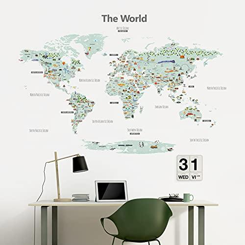 DECOWALL DLT-1902 Mappa del mondo Punto di riferimento Landmark World Map Adesivi da Parete Decorazioni Stickers Murali Soggiorno Asilo Nido Camera Letto per Bambini decalcomanie