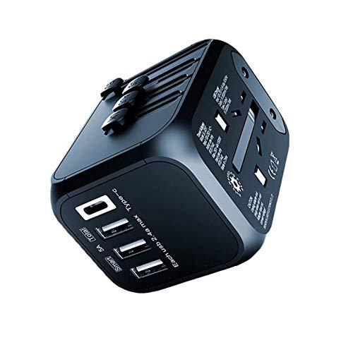Adaptador de Viaje, eLinkSmart Adaptador de Viaje Universal con 3 USB y un Puerto Tipo C con UE UK USA AUS CN Enchufe (Negro)