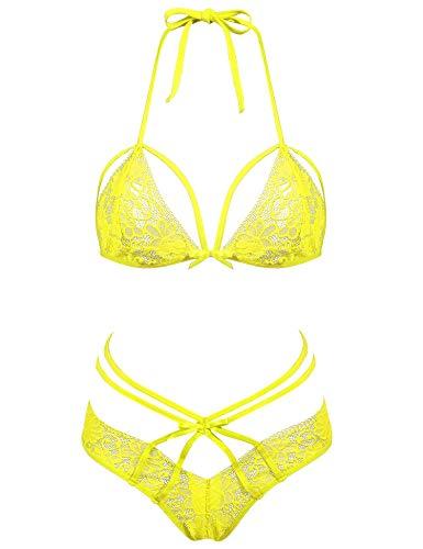 Amorbella Sexy Damen-Dessous, 2-teiliges Set mit BH und Höschen - Gelb - XX-Large