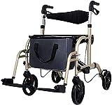 Walker Walker-Walker con Asiento-Andador Plegable de Estilo Europeo, Andador de Cuatro Ruedas para Ancianos-Andador con Freno con Cerradura