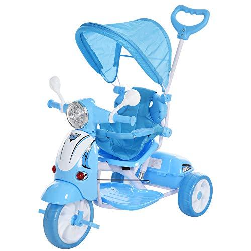 HOMCOM Triciclo para Niños Mayores de 18 Meses Triciclo Evolutivo Plegable con Funciones de Luz y Música Toldo Forma de Motocicleta 102x48x96 cm Azul