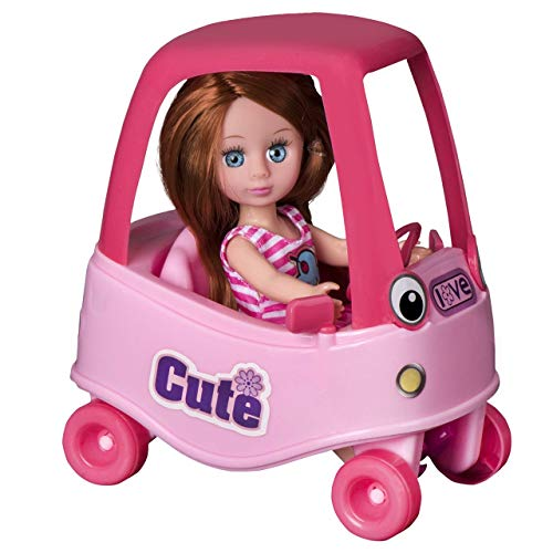 Playkidz Mini Doll Coupe Playset: Pretend Play Mini Doll with Super Durable Coupe for Children's Doll House or just Fun Play. (Brown)