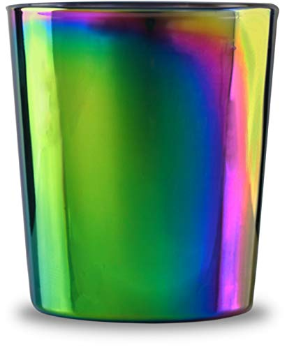 Circleware Fusion Luster Whiskey Glasses Set of 4-13.5 oz Heavy Base Beverage Drinking Glassware Cups for Water, Liquor, Beer, Juice, 4pc DOF, Rainbow