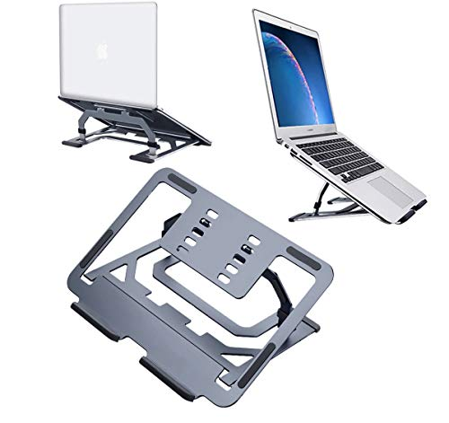 Laptop Stand, Ergonomic Aluminum Computer Stand for Desk, Adjustable and Heat-Vent,Compatible for all 10-15.6' Laptops including MacBook Air/Pro, Dell, HP,Samsung, Lenovo(Deep grey)