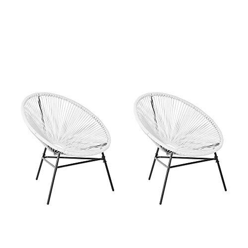 Beliani Conjunto de 2 sillas de ratán Blanco Acapulco