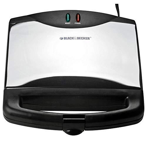Black and Decker ELBDG605SB Sandwichera, color Blanco, 2 panes