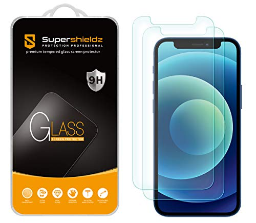 (2 Pack) Supershieldz for iPhone 12 Mini (5.4 inch) Tempered Glass Screen Protector, Anti Scratch, Bubble Free