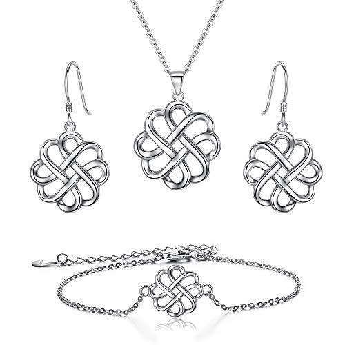 BriLove-Irish-Celtic-Knot-Jewelery Set 925 Sterling Silver Endless Love Vintage Hook Earrings Link Bracelet Pendant Necklace for Womens