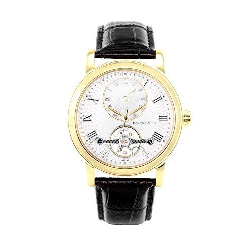 Boudier & Cie B15H6- Reloj analógico de Pulsera para Hombre (automático), Correa de Cuero Negra