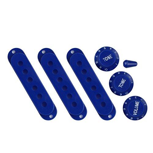 FLEOR Juego de Cubiertas de pastilla de bobina simple de 50/52/52 mm de parte de guitarra con 2 botones de control de volumen de tono 1 y punta de interruptor de palanca de 5 vías, azul