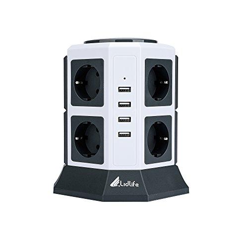 Lidlife - Ciabatta elettrica a 8 prese, con protezione da sovratensioni, presa multipla con protezione da fulmini USB e cavo di prolunga da 2 m