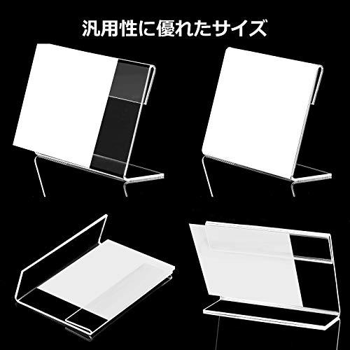 『Akunsz カード立て L型 20個 ポップスタンド POP 値札 ネームカード アクリル製 卓上 展示用 名刺サイズ 縦60×横90mm』のトップ画像