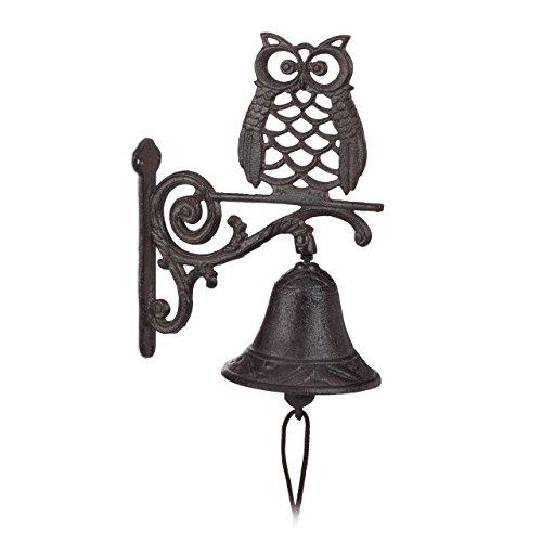 Relaxdays deurbel gietijzeren uil, antiek, landhuisstijl, vogel, koord, weerbestendig, huisdeur, tuindecoratie, donkerbruin