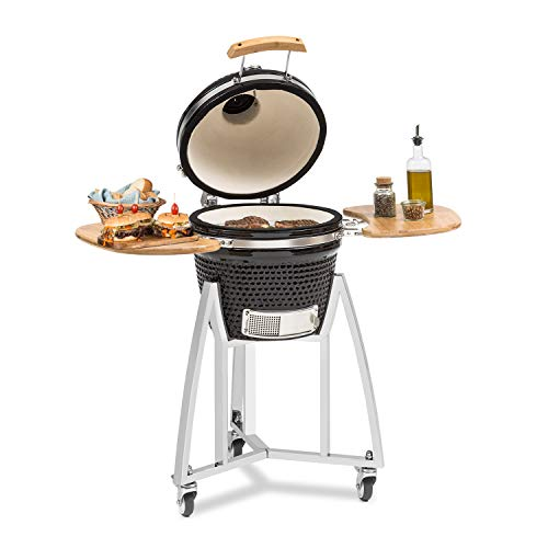 Klarstein Queen Kamado Grill - For Grilling, Slow Cooking, Smoking or Baking, Removable Side Panels, Materials: Ceramic, Stainless Steel, Bamboo, Thermometer from 0-450 ° C, 3 Rollers, Black