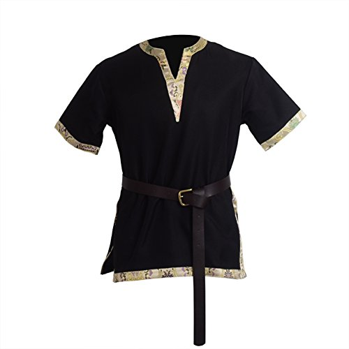 BLESSUME Medieval Viking Tunic with Belt LARP Aristocrat Chevalier Cosplay Costume