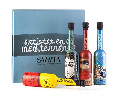 Cesta de Regalo Gourmet de Aceite de Oliva Virgen Extra - 4 Botellas de 100 ml - Colección Artistas en el Mediterráneo - Diseño Premiado 2017 - Producto de España - AOVE - Sahita