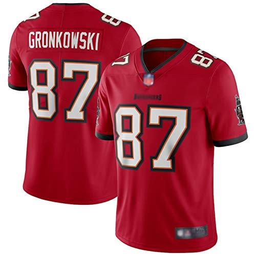 ILHF Gronkowski # 87 Patriots Custom American Football Rugby Trikots Gronkowski # 87 schnell trocknendes Wettkampf Trikot für Herren Gr. L, rot