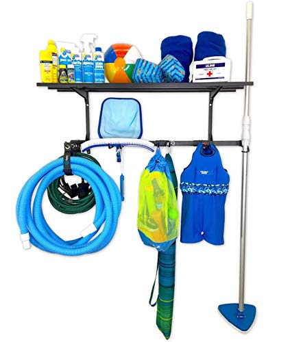 StoreYourBoard Pool Equipment Rack + Storage Shelf, Wall Mounted Organizer, Holds Brushes, Vacuum Hoses, Skimmers, Leaf Rakes, Extension Pole, Nets, Bags, Inflatables, Toys, Chemicals, and More