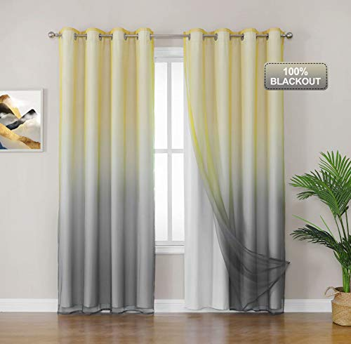Selectex Mix and Match Curtain - 100% Blackout Curtains with Sheer Ombre Kids Curtains for Bedroom Thermal Insulated Sun Blocking Grommet Drapes, 52x84 inch, Set of 2 Panels, Yellow & Grey