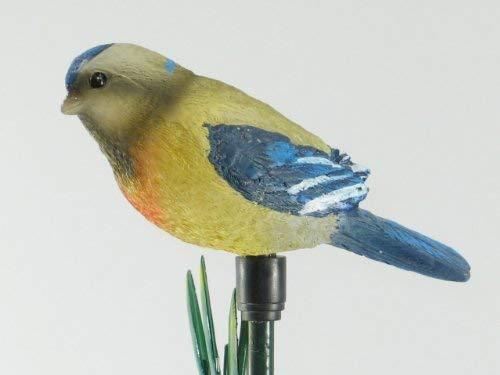 Solarleuchte Vogel gelb-grau-blau Solar-Stick Solar-Gartenleuchte Solar-Garten-Balkon-Terrassen-Blumentopf-Blumenbeet-Dekorations-Weihnachts-Leuchte