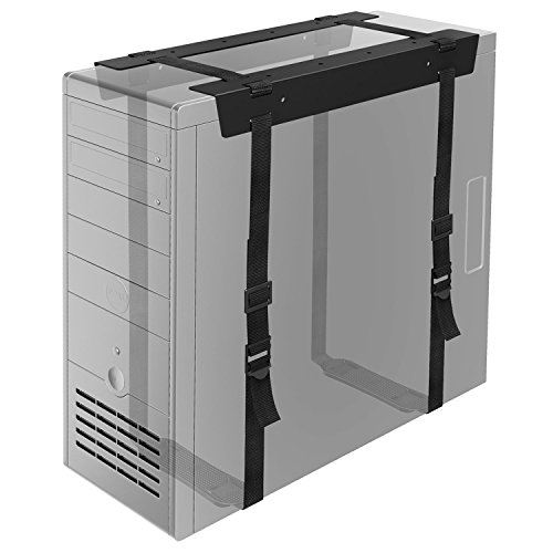 BONTEC Soporte CPU Bajo Mesa, Caja PC Soporte con Correas Caja Ordenador de Sobremesa Oficina Casa, Carga Máx de 20 Kg