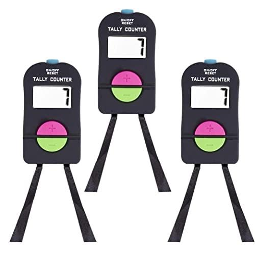 Tally Digital Mano, Clicker electrónico con cordón, Agregar y Subtractor Manual Número de Mano Digital para 3pcs