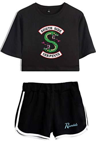 HAOSHENG Riverdale Camiseta Cortos de Verano Chándales Vibrante Linda Cintura Alta Conjunto Niña y Mujer