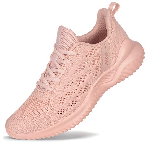Akk Womens Tennis Shoes Fashion Walking Shoes Ourtdoor Trainers Athletic Running Shoes Sneakers for Gym Jogging Fitness Nursing Pink Size 8.5