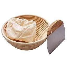Krieitiv- Panier de fermentation à pain, diamètre 23 cm 25 cm 30 cm, avec rotin indonésien naturel (diamètre 23 cm)