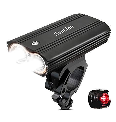 SanLion Lumière Vélo, Lampe Vélo USB LED Puissante Rechargeable, 2400 Lumens, Multi Modes d'éclairage, Antichoc Impermeable IP65
