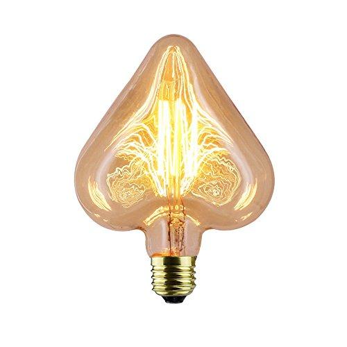 TINS Edison Ampoule Rétro,E27 40W Rétro Amour Ampoule Forme,Lampe de Filament de Tungstène Peach Coeur,Ampoule Filamentaire Légère à Gradation,Convient pour Nostalgie et Éclairage Antique Blanc Chaud