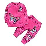 Niños Bebé Niñas Chándal Set Manga Larga Pullover Butterfly Print Top Sweatpants Toddler Outfits Sweatshirt Pantalones 2Pcs Ropa Deportiva