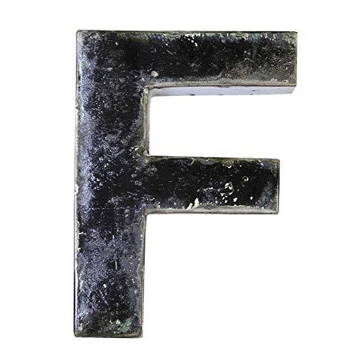 Boogs Metallbuchstabe F im Vintage Stil | Retro Buchstaben aus Metall | Industrial Deko Metallbuchstaben | Schwarz auch in Anderen Farben