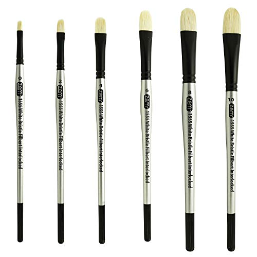 ZEM Brush Interlocked White Hog Bristle Filbert Brushes Set 6 pcs