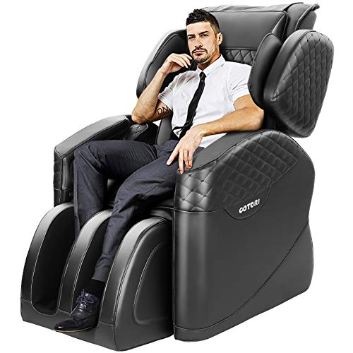 TinyCooper Massage Chair, Zero Gravity Massage Chair, Full Body Massage Chair with Lower-Back Heating and Foot Roller (NBlack)