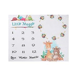 Decdeal 47 * 39 Pulgadas Mantas de Bebé Manta de Hito Mensual para Bebés Mantas de Franela Suave Foto Imagen Fondo…