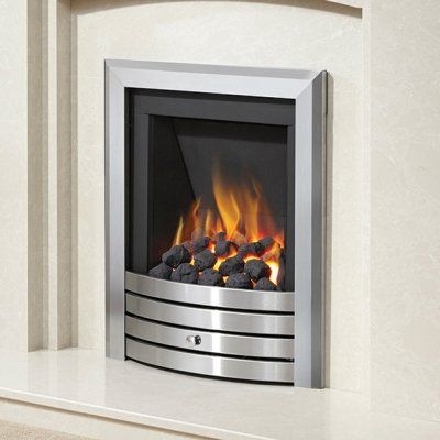 Be Modern Alcazar Slimline Inset Gas Fire Manual Control Brushed Steel Design Trim