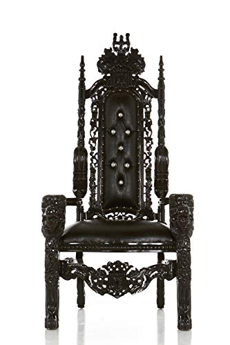 King David Royal Gothic High Back Lion Throne Chair, King/Queen Wedding Throne Chair, Party Rentals, Model Photo Shoots, Bridal/Baby Shower, Pastor Chair- Home Decor - Gloss Black Finish - 70' H