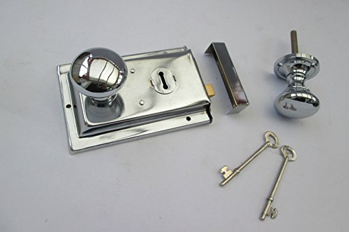 IRONMONGERY WORLDVictorian Style 1920s Rim Door Lock & Rim KNOB Set Handles SHED Door Bedroom Set Dual Handed Right and Left (Polished Chrome)